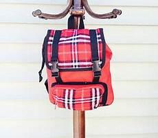 child s small backpack black and white plaid canvas