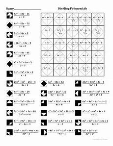 division of polynomials worksheets with answers 7014 dividing polynomials color worksheet by aric tpt