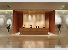 Hotel reception design, hotel reception desk with mirror