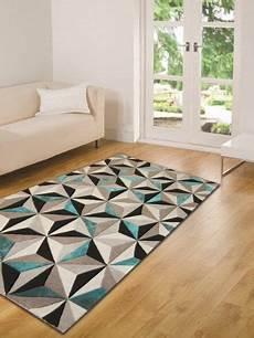 tapis moderne 201 pais 224 motif g 233 om 233 trique bleu sarcelle 3