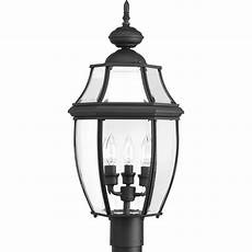 hton bay 3 head black outdoor light hb7017p 05 the home depot