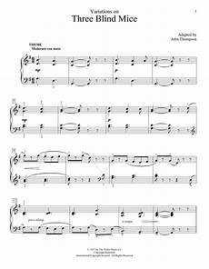 variations three blind mice sheet music by thompson educational piano 160638