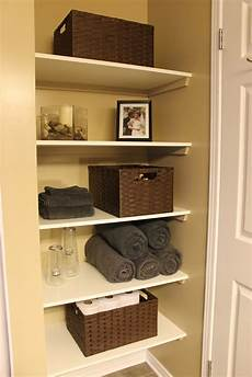 shelving ideas for bathrooms km decor diy organizing open shelving in a bathroom