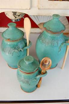 pottery kitchen canister sets kitchen canister set of three in turquoise made to order