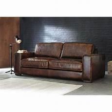 canapé cuir vintage canap 233 vintage 3 places en cuir marron industriel