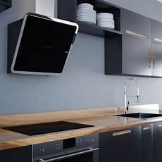Montagehöhe Dunstabzugshaube Kopffrei - diagonalhaube glas schwarz mit chrom umrandung