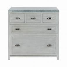 meuble bois gris meuble bas de cuisine en bois d acacia gris l 90 cm zinc