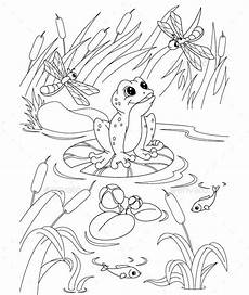 free coloring pages pond animals 17411 illustration frog in the pond coloring page eps 8 jpg high resolution animal coloring