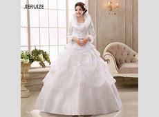 JIERUIZE White Organza Ball Gown Cheap Muslim Wedding