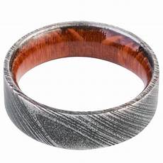 mens wedding band damascus steel ring leopard wood inside