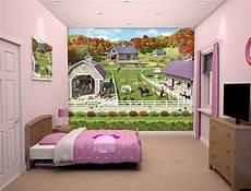 Wandbemalung Kinderzimmer Vorlagen - walltastic fototapete m 228 dchen pferde pony wandbild