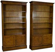 new matching pair of walnut tall bookcases with doors bookshelves cabinets light ebay