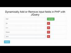 dynamically add remove input fields in php with jquery ajax youtube
