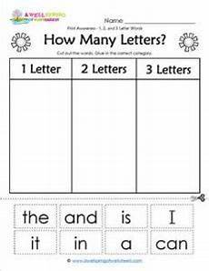 two letter words worksheets for kindergarten 23538 print awareness how many letters sorting 1 2 3 letter words