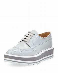 lyst prada platform brogue trim leather oxfords in gray