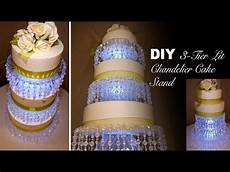 diy 3 tier lit chandelier wedding cake stand youtube
