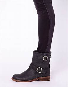 lyst steve madden tokken leather biker boots in black