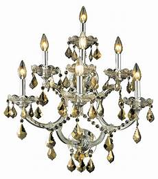 elegant lighting swarovski elements smoky golden teak crystal 7 light crystal wall sconce chrome