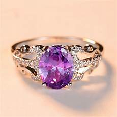 cute fashion purple oval stone ring female silver wedding ring promise engagement rings for