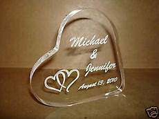 personalized acrylic heart wedding cake topper engraved ebay