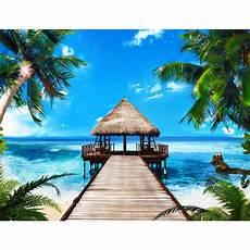 Malvorlagen Meer Und Strand Urlaub Strand Meer Palmen Vlies Foto Wandtapete Dekoration