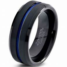 charming jewelers tungsten wedding band ring 8mm for men black blue center line beveled
