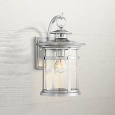 franklin iron works industrial outdoor wall light fixture chrome 11 1 2 quot clear seedy glass