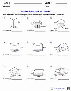 prisms and cylinders surface area worksheets math aids