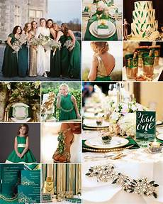 emerald green cream and gold weddings