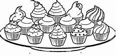 Malvorlagen Cake Plate Of Cupcakes Coloring Page Wecoloringpage