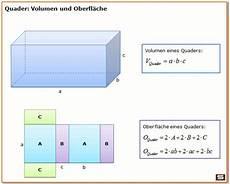 quader volumen und quader oberfl 228 che mit formel