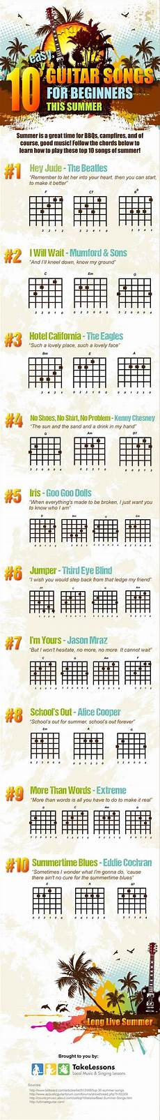 how to play guitar songs for beginners 10 easy guitar songs for beginners this summer infographic guitar songs for beginners easy