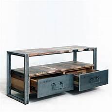 meuble tv industriel en bois de bateau et m 233 tal comportant