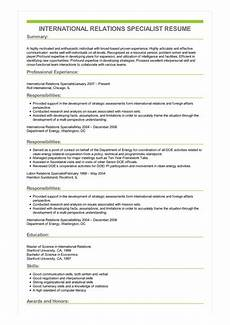 sle international relations specialist resume
