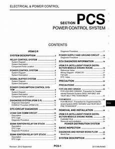 airbag deployment 2009 nissan 350z seat position control 2013 nissan murano power control system section pcs pdf manual 106 pages