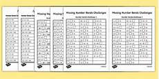 missing number bonds challenges worksheet worksheet pack missing number
