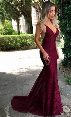 sexy v neck burgundy lace formal evening dresses 2019 backless mermaid prom dress fb0157 evening