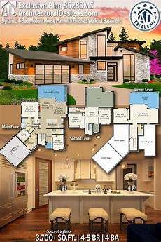 contemporary house plans with walkout basement plan 85283ms dynamic 4 bed modern house plan with