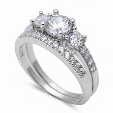 3 stone wedding engagement band ring sterling silver 2 ct
