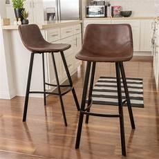 rex modern upholstered bar stool set of 2 brown bar