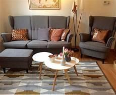 Ikea Strandmon Sofa - mid century modern living room with ikea strandmon sofa