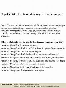 top 8 assistant restaurant manager resume sles