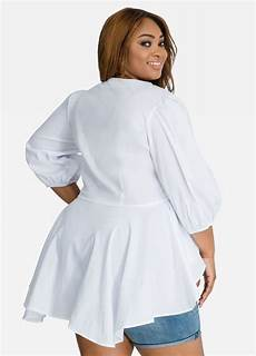peplum blouse sleeve plus size shirts poplin button front puff sleeve peplum