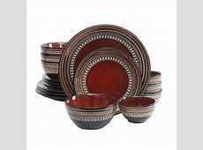 Gibson Café Versailles 16 Pc. Double Bowl Dinnerware Set   Red