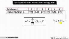 varianz berechnen mit relativen h 228 ufigkeiten