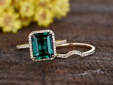 2 6 carat emerald cut emerald wedding diamond bridal ring 14k rose gold curved thin eternity