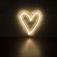 white heart shaped neon wall light retro style neon light
