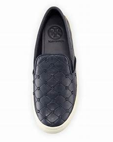 burch quilted logo stud leather slip ons in bright
