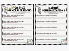 generalization worksheets for 5th grade making generalizations comprehension skill this resource comes with teacher quot quot sheets yay