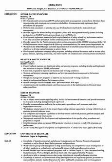 safety engineer resume sles velvet